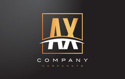 AX A X Golden Letter Logo Design with Gold Square and Swoosh. Stock Image