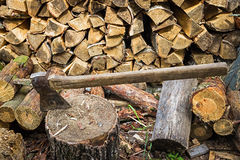 Ax, hatchet, axe. split a log with an ax. birch  firewood in the background. wood. Wallpaper Royalty Free Stock Photo