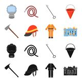 Ax, helmet, uniform, burning building. Fire departmentset set collection icons in black,cartoon style vector symbol. Stock illustration Royalty Free Stock Photos