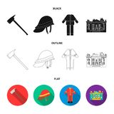 Ax, helmet, uniform, burning building. Fire departmentset set collection icons in black,flat,outline style vector symbol. Stock illustration Royalty Free Stock Images