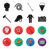 Ax, helmet, uniform, burning building. Fire departmentset set collection icons in black,flet style vector symbol stock. Illustration Royalty Free Stock Photography