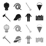 Ax, helmet, uniform, burning building. Fire departmentset set collection icons in black,monochrome style vector symbol. Stock illustration Royalty Free Stock Photos