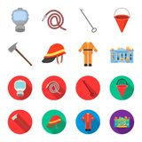 Ax, helmet, uniform, burning building. Fire departmentset set collection icons in cartoon,flat style vector symbol stock. Illustration Royalty Free Stock Images