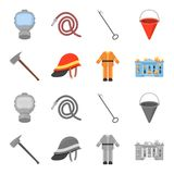 Ax, helmet, uniform, burning building. Fire departmentset set collection icons in cartoon,monochrome style vector symbol. Stock illustration Stock Photography