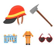 Ax, helmet, uniform, burning building. Fire departmentset set collection icons in cartoon style vector symbol stock. Illustration Royalty Free Stock Photo