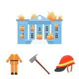 Ax, helmet, uniform, burning building. Fire departmentset set collection icons in cartoon style vector symbol stock Stock Photography