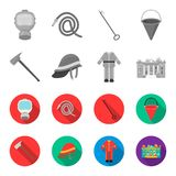 Ax, helmet, uniform, burning building. Fire departmentset set collection icons in monochrome,flat style vector symbol. Stock illustration Stock Images