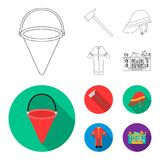 Ax, helmet, uniform, burning building. Fire departmentset set collection icons in outline,flat style vector symbol stock. Illustration Royalty Free Stock Image