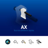 Ax icon in different style. Ax color icon, vector symbol in flat, outline and isometric style  on blur background Stock Photos