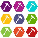 Ax icons set 9 vector. Ax icons 9 set coloful isolated on white for web Stock Images
