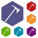 Ax icons set hexagon Stock Photos