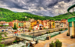 Ax-les-Thermes with the Oriege river - France stock photos