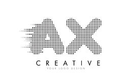 AX A X Letter Logo with Black Dots and Trails. Stock Photo