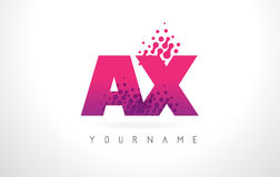 AX A X Letter Logo with Pink Purple Color and Particles Dots Des Royalty Free Stock Photography