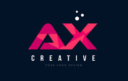 AX A X Letter Logo with Purple Low Poly Pink Triangles Concept. AX A X Purple Letter Logo Design with Low Poly Pink Triangles Concept Royalty Free Stock Photography