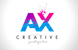 AX A X Letter Logo with Shattered Broken Blue Pink Texture Desig Stock Photo