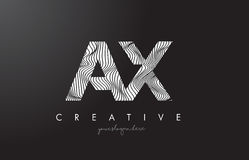 AX A X Letter Logo with Zebra Lines Texture Design Vector. Stock Photo