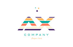 Ax a x line stripes pastel color alphabet letter logo icon templ Stock Photos