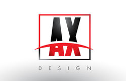 AX A X Logo Letters with Red and Black Colors and Swoosh. Stock Image