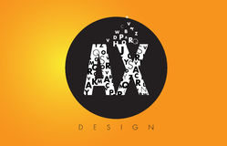 AX A X Logo Made of Small Letters with Black Circle and Yellow B Royalty Free Stock Photos
