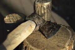 Ax na drewnie Obraz Stock
