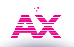 Ax a x pink purple line stripe alphabet letter logo vector templ Royalty Free Stock Photo