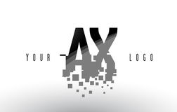 AX A X Pixel Letter Logo with Digital Shattered Black Squares Royalty Free Stock Photography