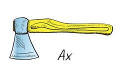 Ax, ręka rysujący doodle nakreślenie w wystrzał sztuki stylu royalty ilustracja