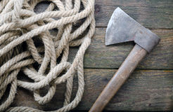 Ax and Rope Stock Images