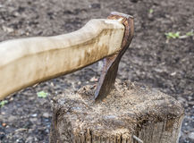 Ax stuck in the stump Stock Images