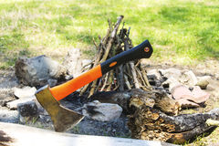 Ax stuck in the tree trunk Royalty Free Stock Photo
