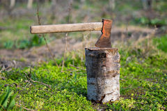 Ax on the stump Royalty Free Stock Image