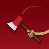 Ax Swing Hand. Hand swinging ax with red background Stock Images