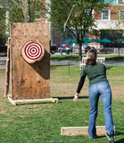 Ax Throwing event at Woodmans Competition Royalty Free Stock Photos