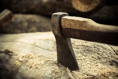Ax on the timber. Royalty Free Stock Image