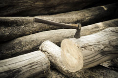 Ax on the timber. Royalty Free Stock Photography