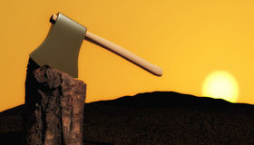 Ax in tree trunk. An axe embedded in a tree trunk at sunset Stock Photography
