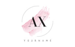 AX A X Watercolor Letter Logo Design with Circular Brush Pattern. AX A X Watercolor Letter Logo Design with Circular Shape and Pastel Pink Brush Stock Photos
