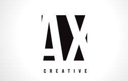AX A X White Letter Logo Design with Black Square. Royalty Free Stock Images