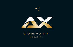Ax a x  white yellow gold golden luxury alphabet letter logo ico Royalty Free Stock Photos