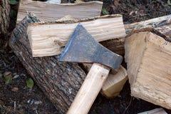 Ax on wood Stock Photos
