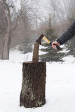 Ax wood firewood stump Stock Photo