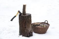 Ax wood firewood stump Stock Images