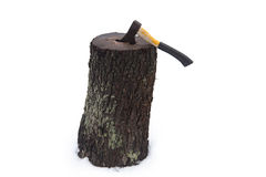 Ax wood in stump Stock Images