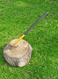 Ax in wood stump on sunny lawn Royalty Free Stock Photo