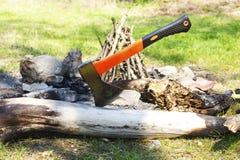 Ax wtykający w drzewnym bagażniku Obrazy Royalty Free