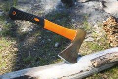 Ax wtykający w drzewnym bagażniku Zdjęcie Stock