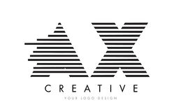 AX A X Zebra Letter Logo Design with Black and White Stripes. Vector stock illustration