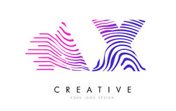 AX A X Zebra Lines Letter Logo Design with Magenta Colors. AX A X Zebra Letter Logo Design with Black and White Stripes Vector stock illustration