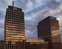 AXA en Mony Towers Royalty-vrije Stock Fotografie